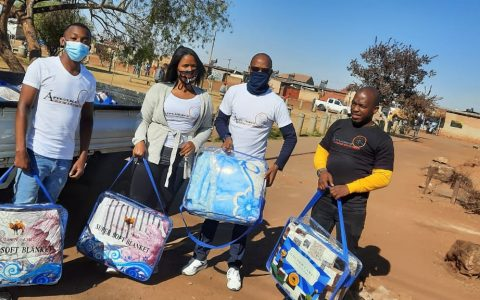 Distribution of blankets to the homeless.